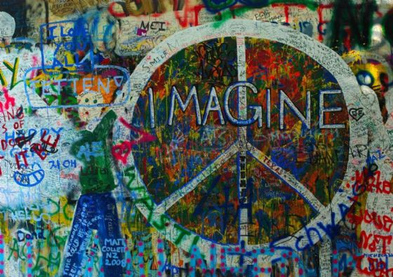 The John Lennon Peace Wall, Prague. Print/Poster. Sizes: A4/A3/A2/A1 (001351)